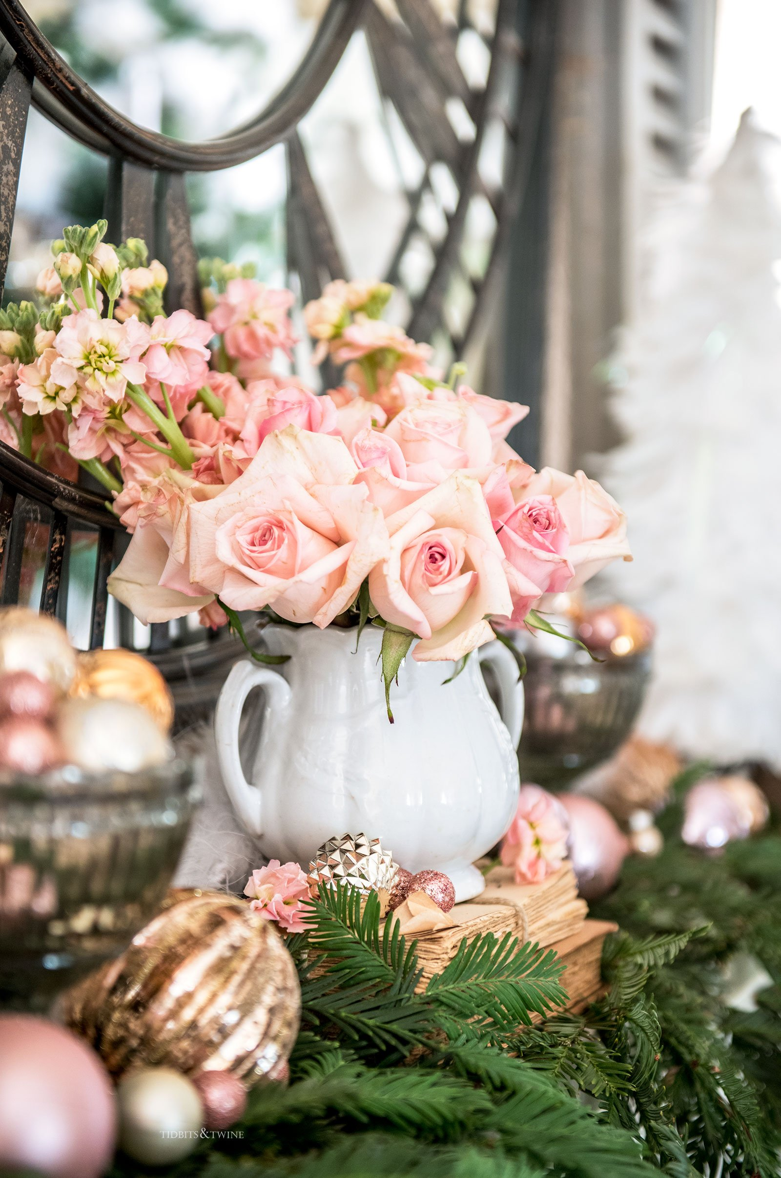 Pink Christmas mantel decor