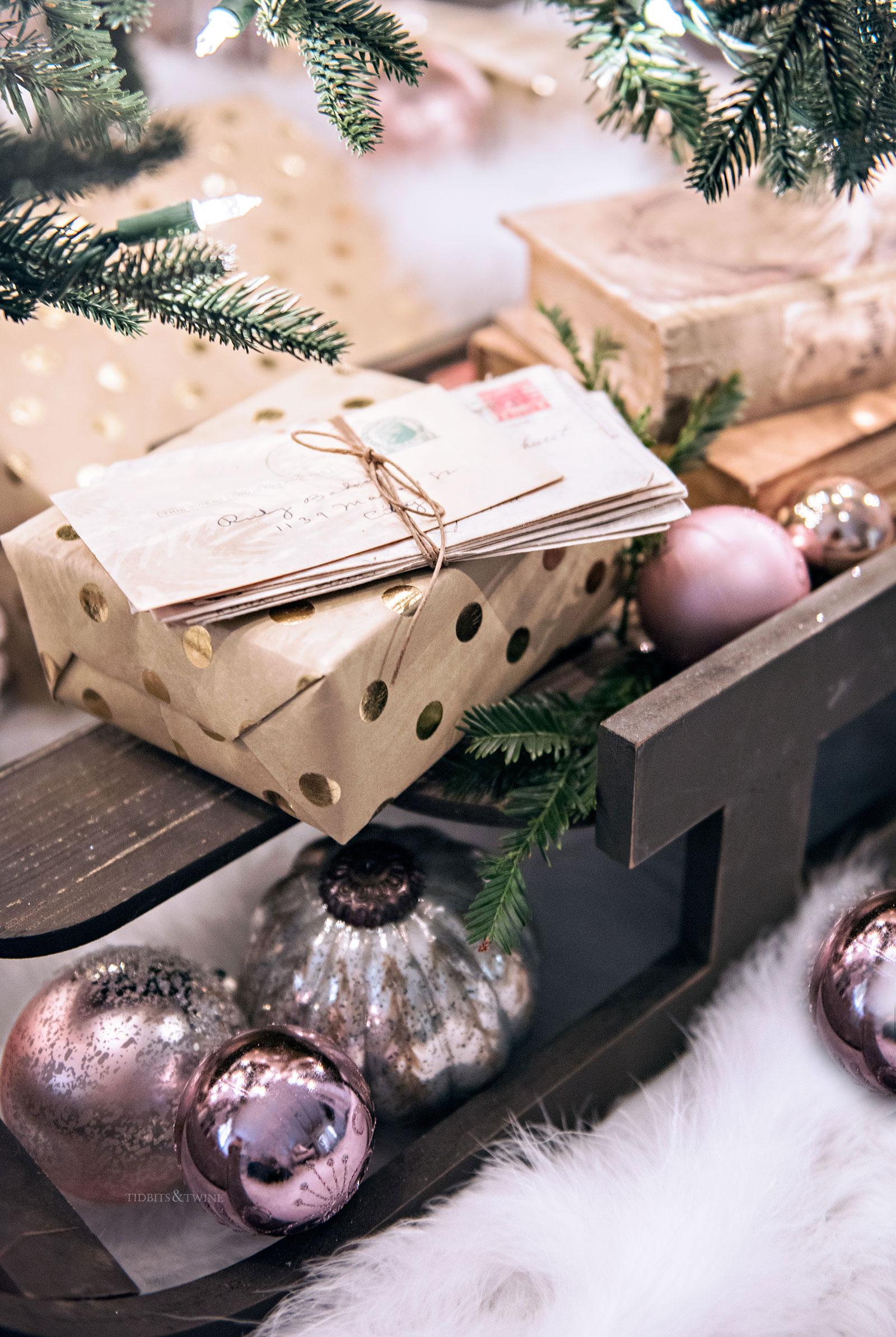 Wooden sled Christmas tree display