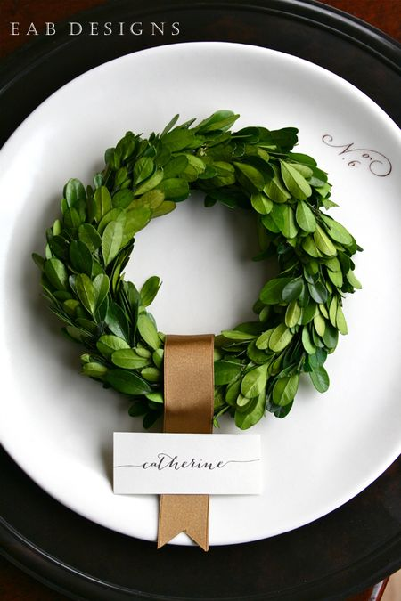 Mini boxwood wreath place setting
