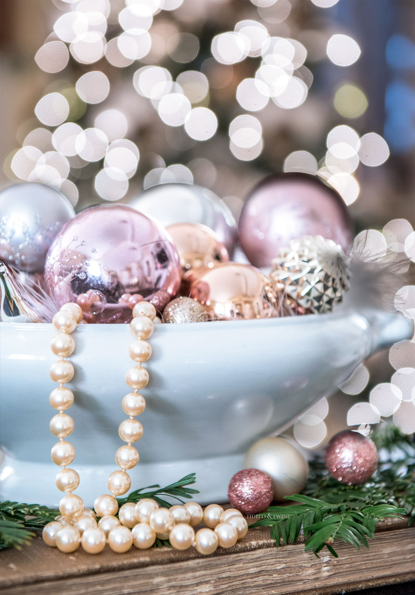 Pink and blush ornaments in an Ironstone bowl with Majorca pearls