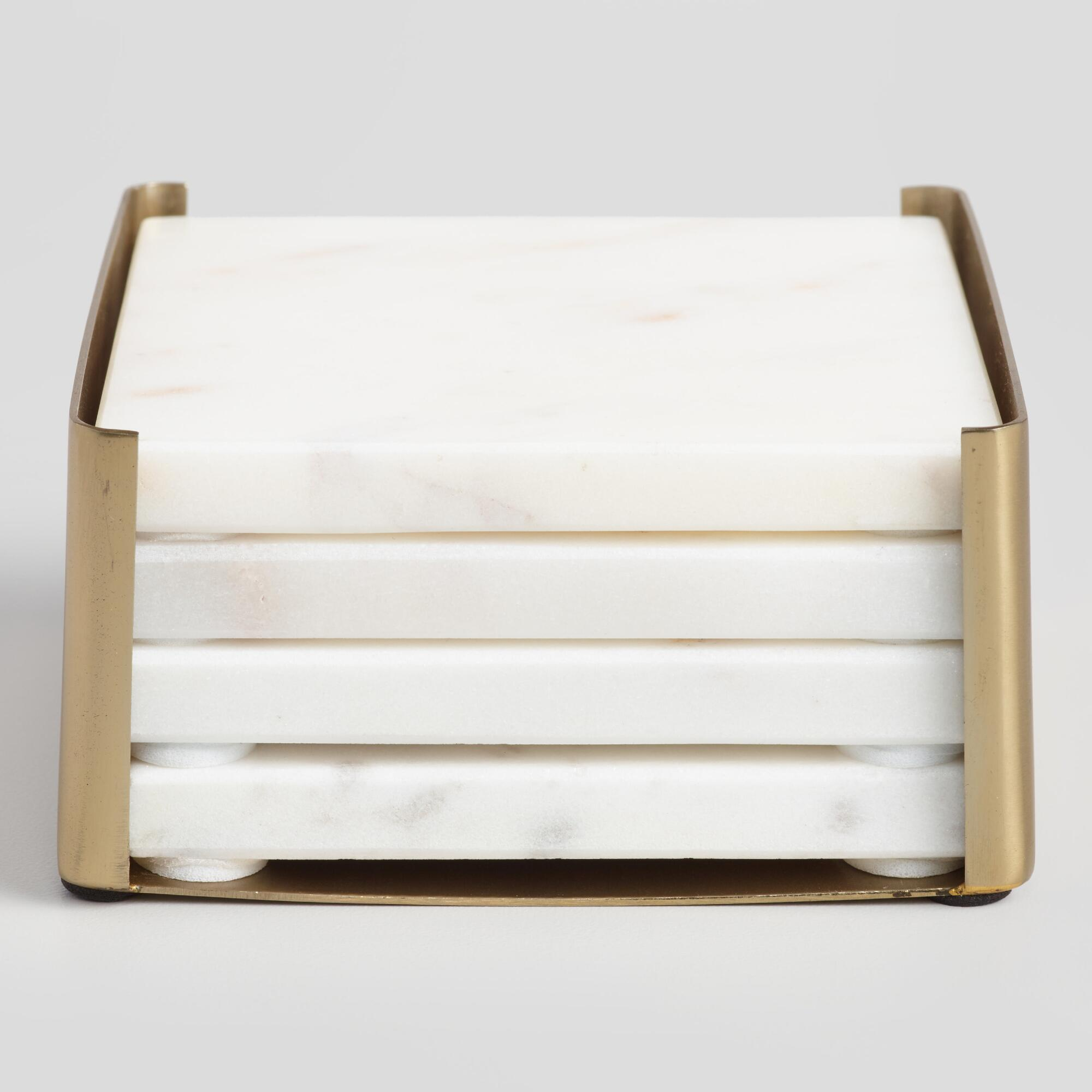 Marble Coasters in Gold Holder for under $25