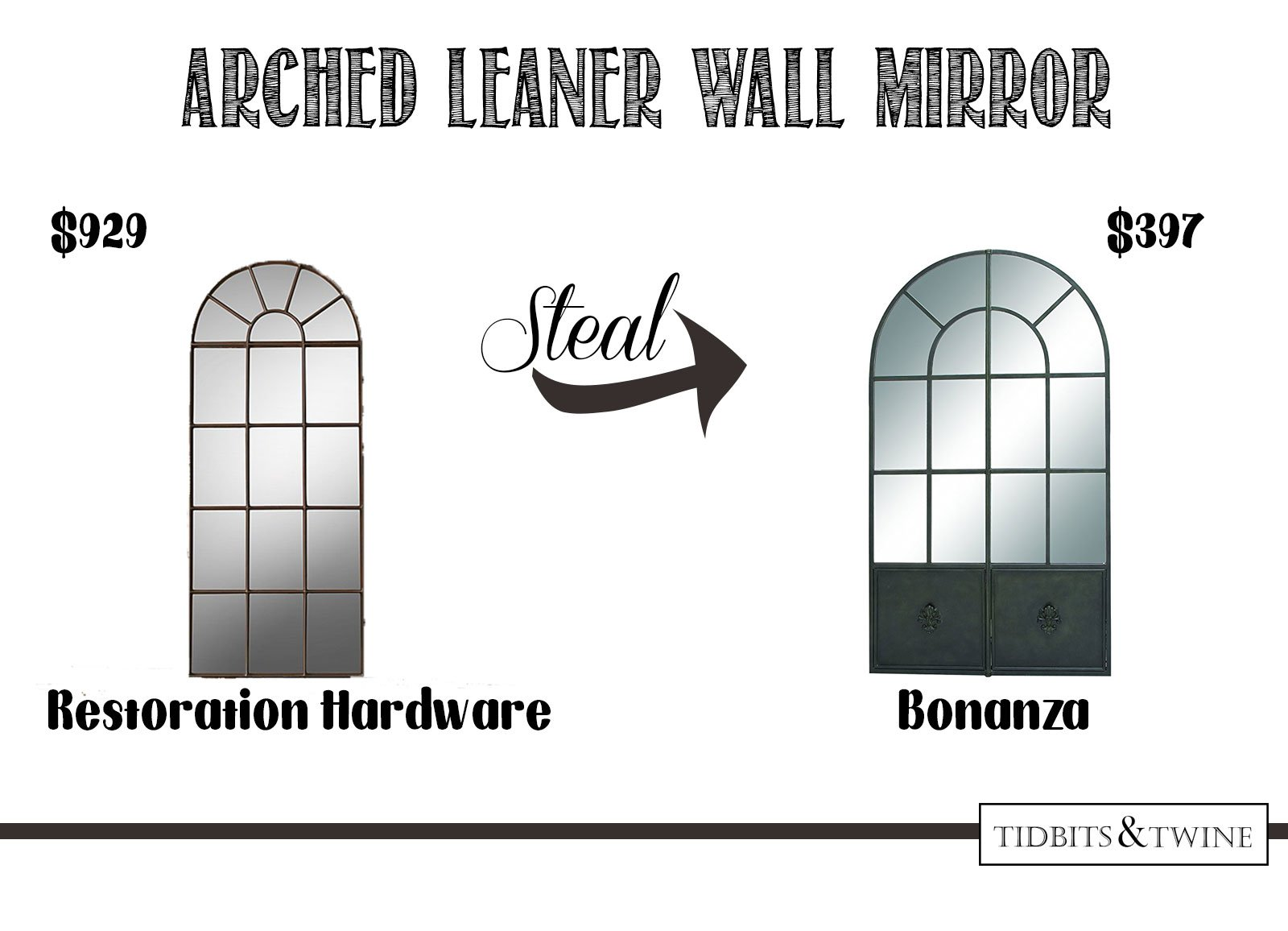 Get the look for less! Arched leaner metal wall mirror