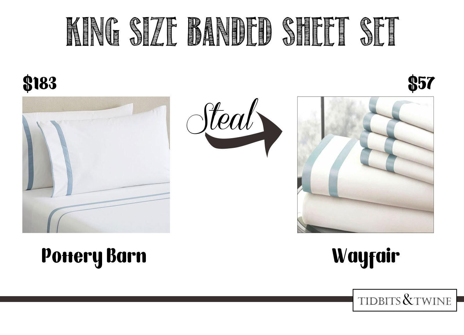 Get the look for less! Blue satin banded sheet set