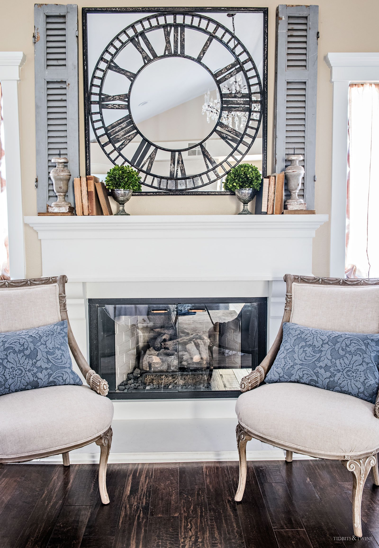 TIDBITS&TWINE Master Bedroom Mantel with French chairs