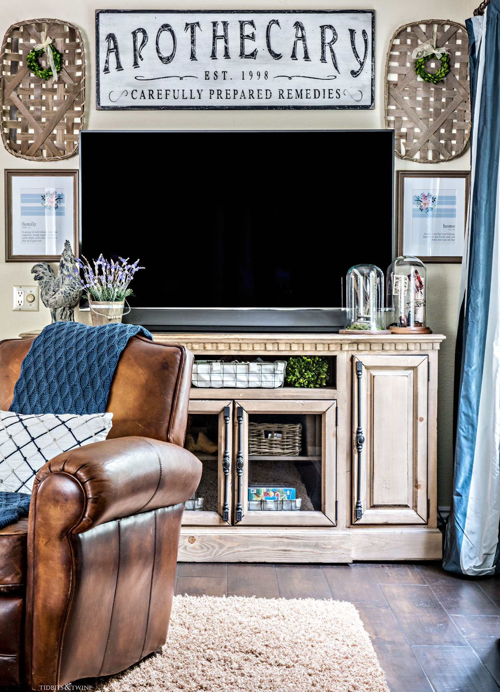 French Farmhouse Gallery Wall around a TV from Tidbits&Twine