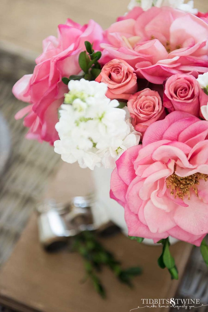 Pink roses and white stock centerpiece