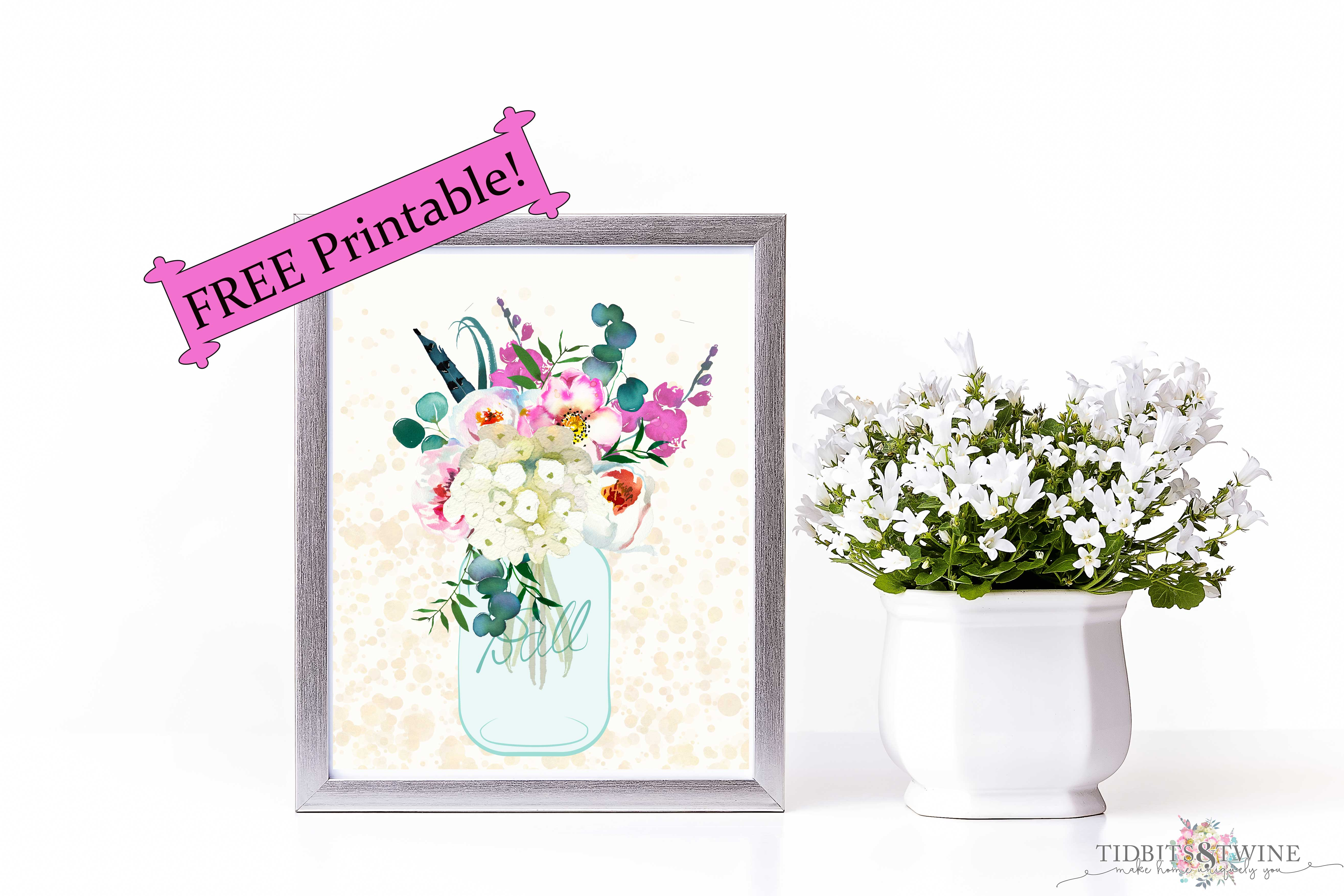 free printable of flowers in a mason jar