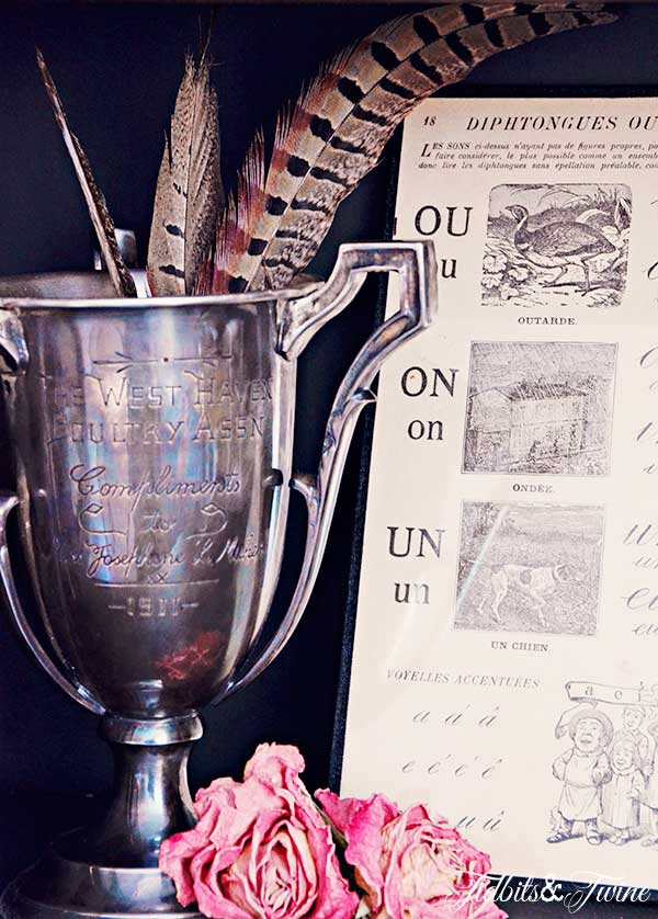 How to Decorate with Antiques - Use a trophy cup as a vase, utensil holder, etc.