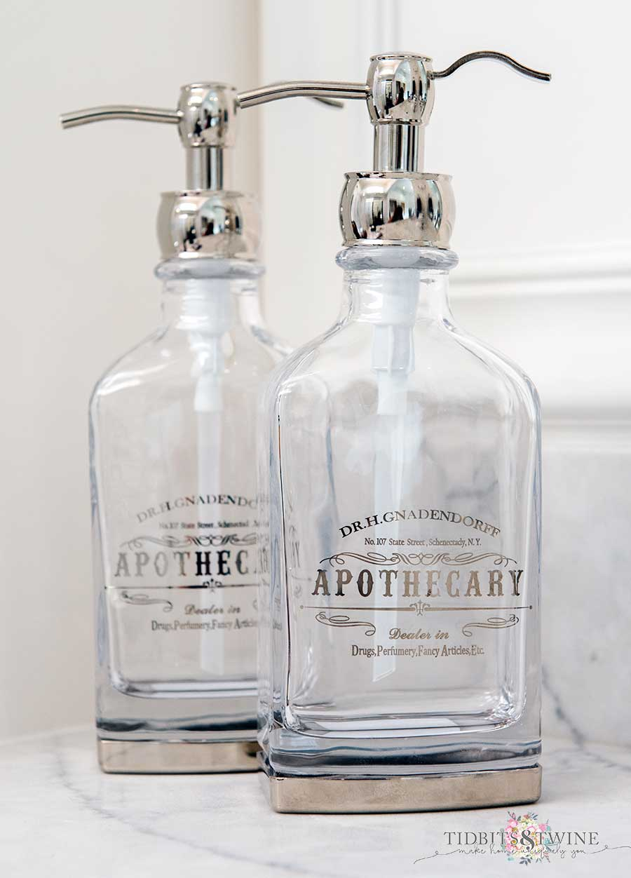 Apothecary Soap Dispensers clear glass and chrome