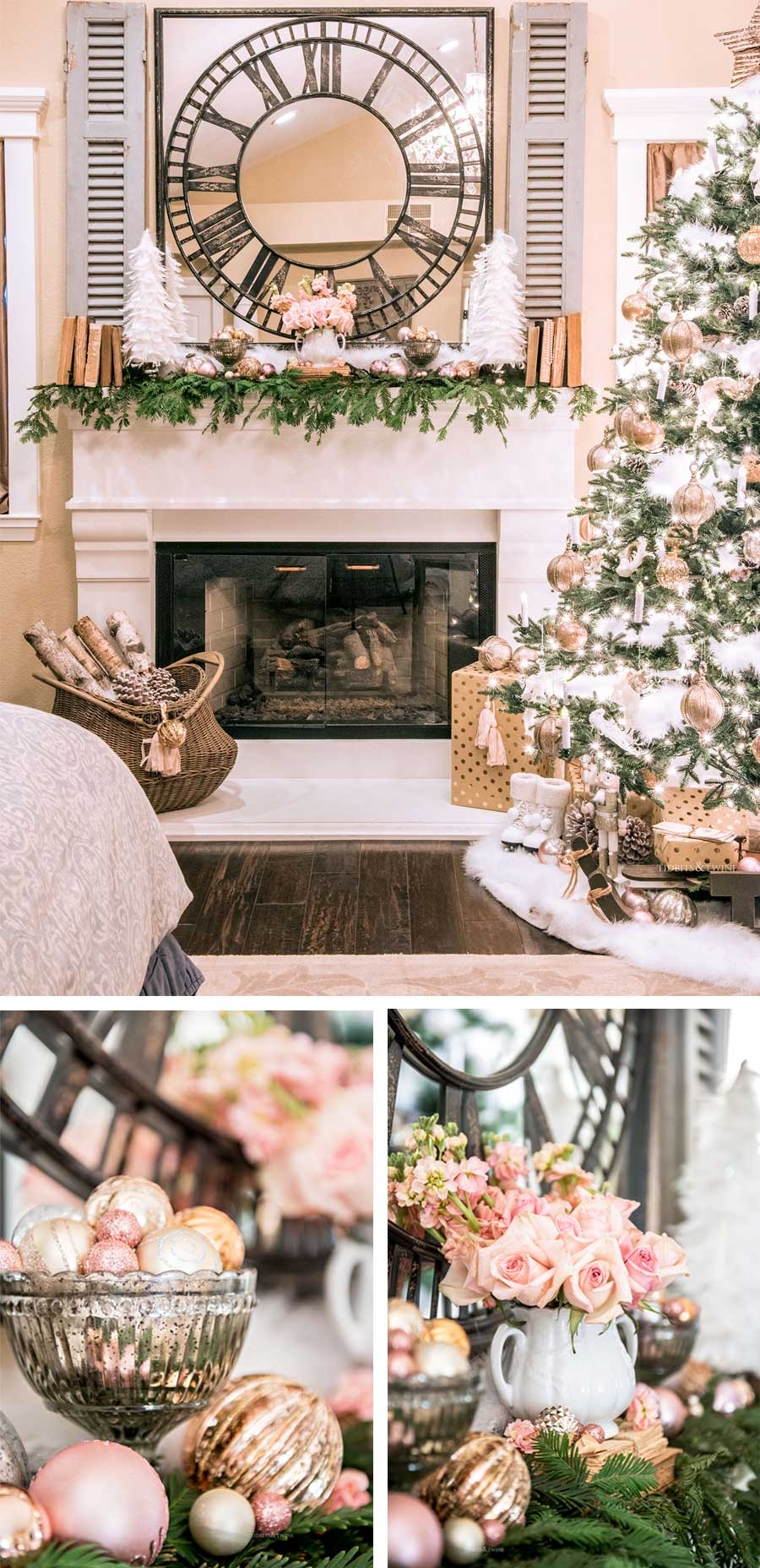 master bedroom fireplace decorated with pink gold and white for Christmas