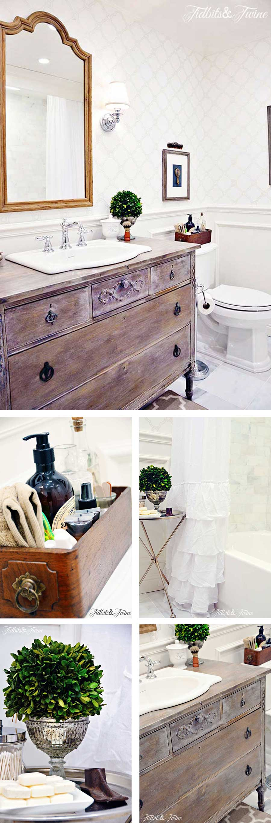 small bathrooom with an antique dresser used as a vanity beadboard ceiling and wallpaper
