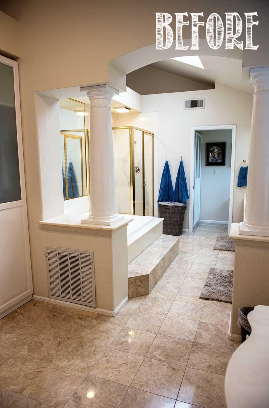 80s master bathroom before. One Room Challenge makeover