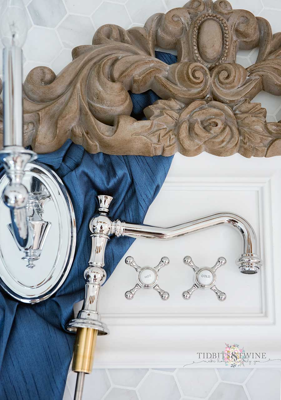 Elegant French marble master bathroom makeover with blue, white and aged wood