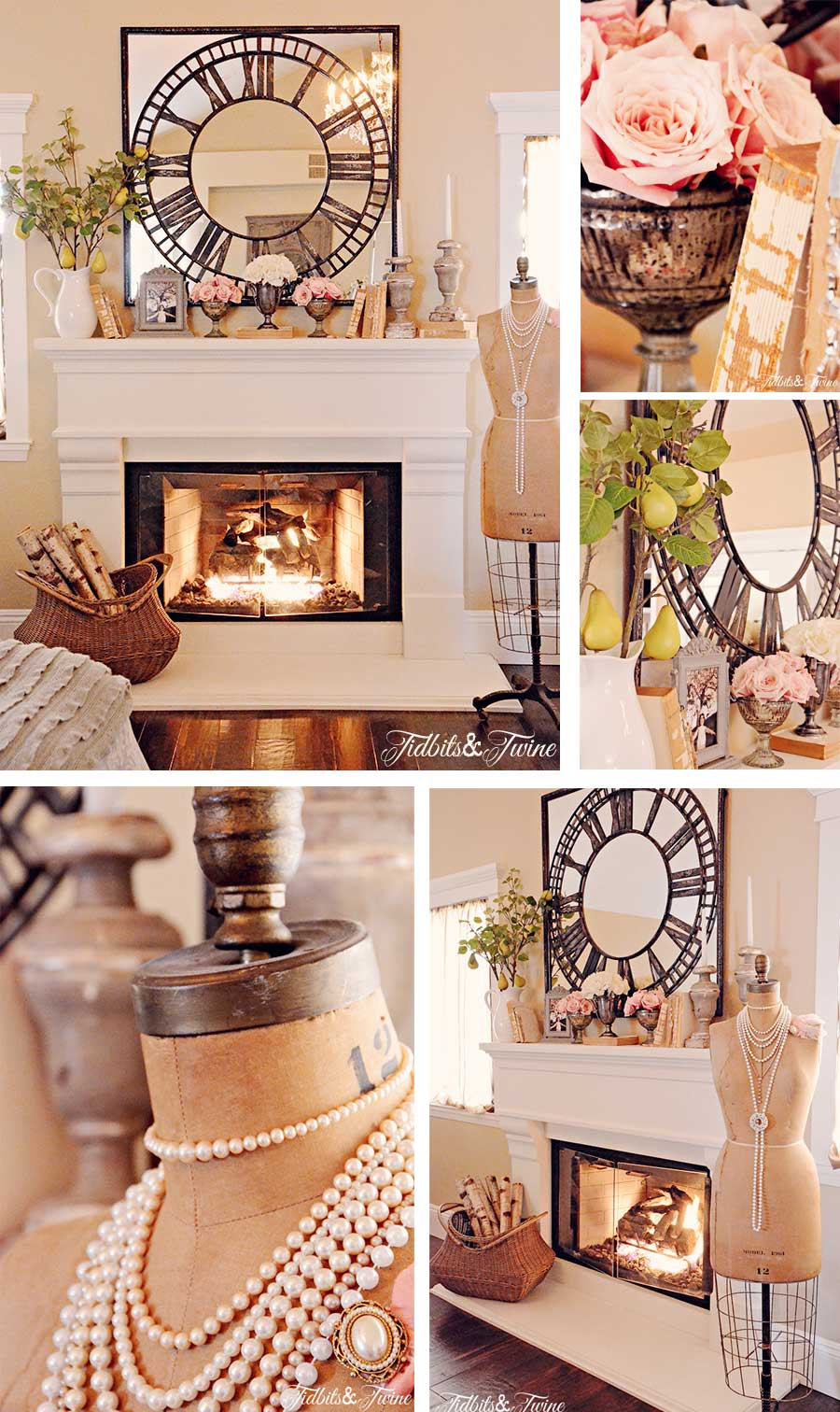 master bedroom fireplace mantel decorated with oversized clock mirror and antique books