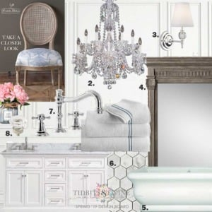 Elegant master bathroom design board with freestanding tub and crystal chandelier. One Room Challenge makeover from Tidbits&Twine