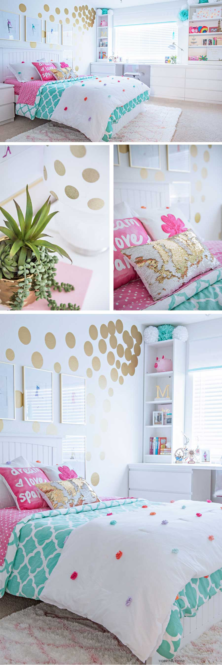 contemporary teen girl bedroom with white IKEA furniture and pops of turquoise gold and pink
