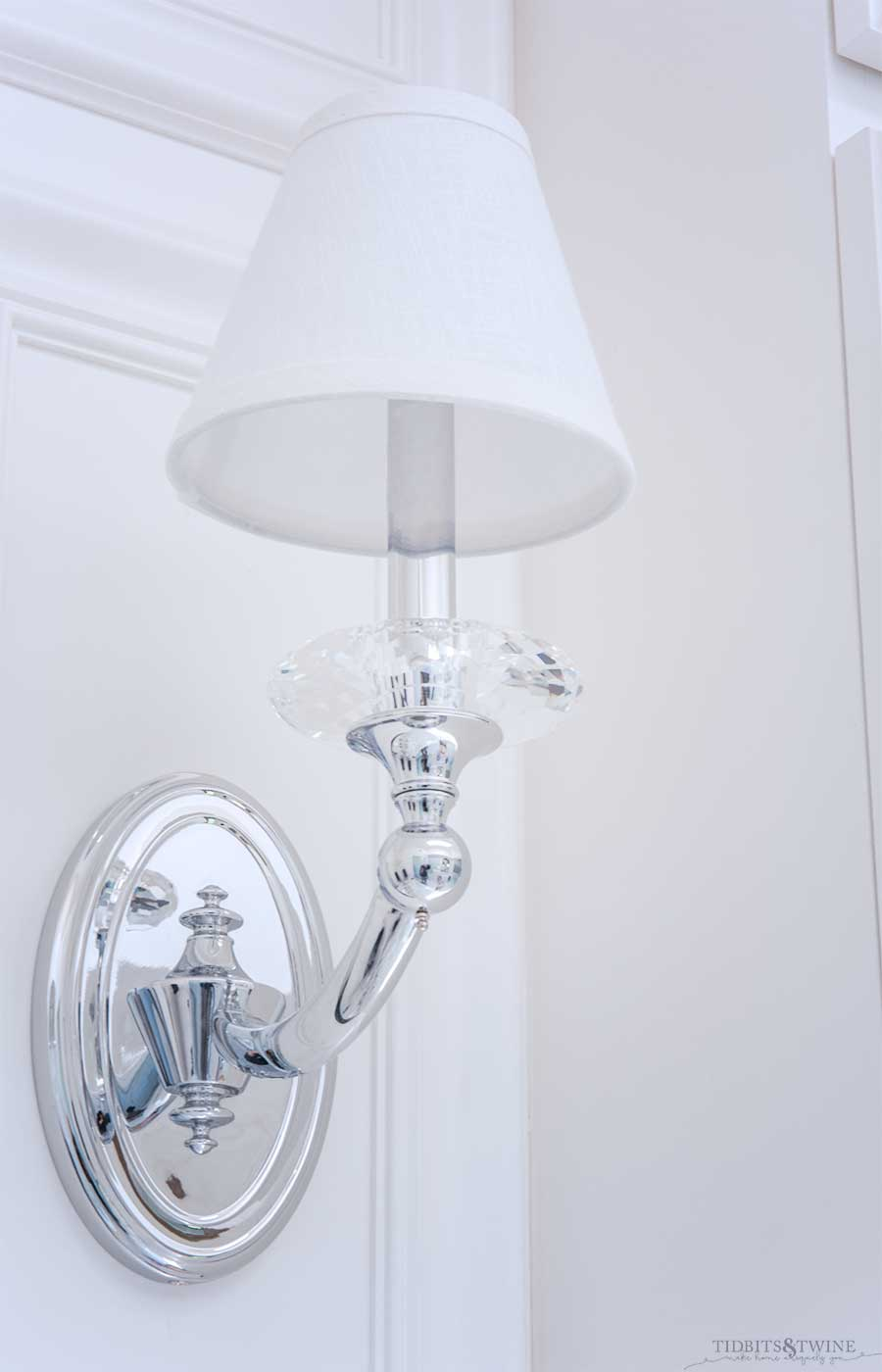 Allegri Floridia one light sconce in French elegant master bathroom
