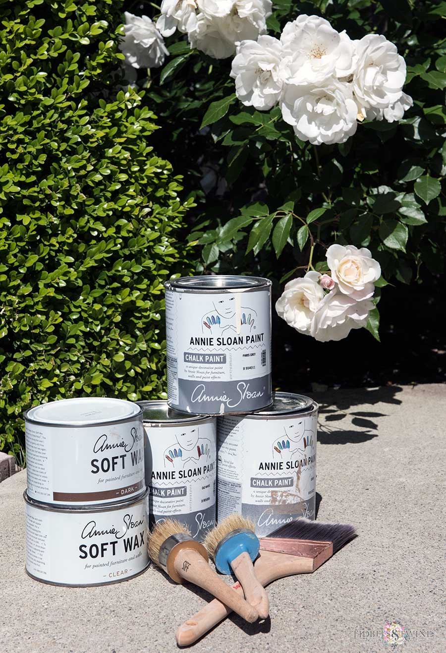 Annie Sloan chalk paint supplies to create a Restoration Hardware wood look using chalk paint.