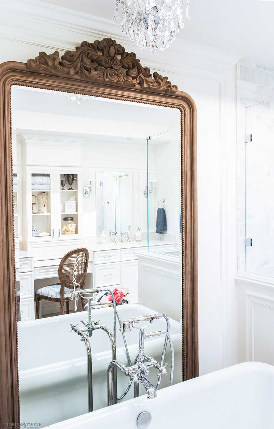 DIY Wood french elegant floor mirror in master bathroom