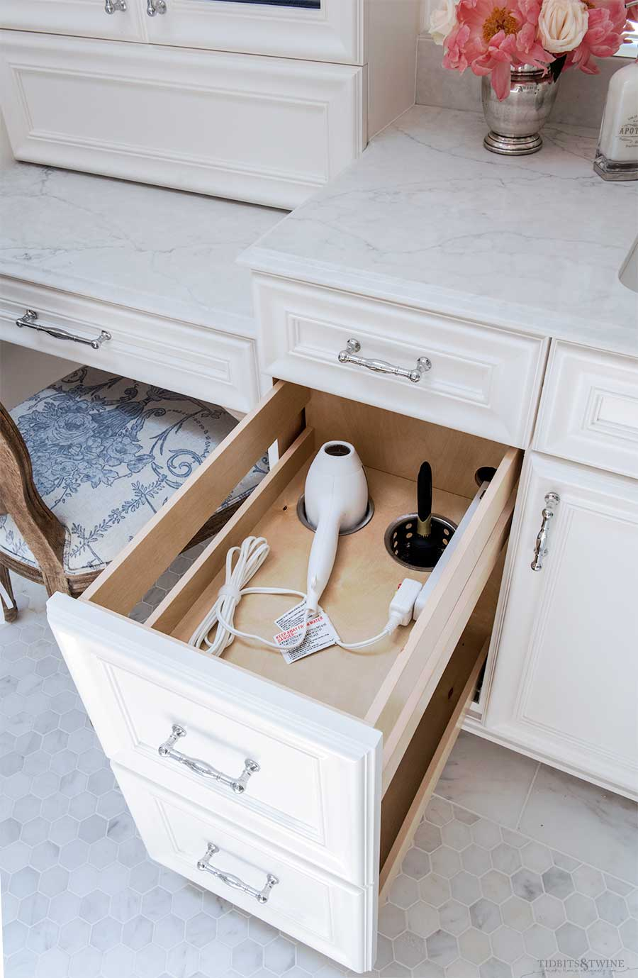 Bathroom vanity drawer with electrical box and hair dryer holder built in holster style