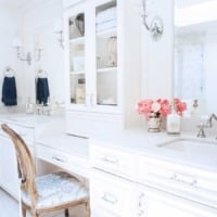 White master bathroom vanity with makeup area and sconces