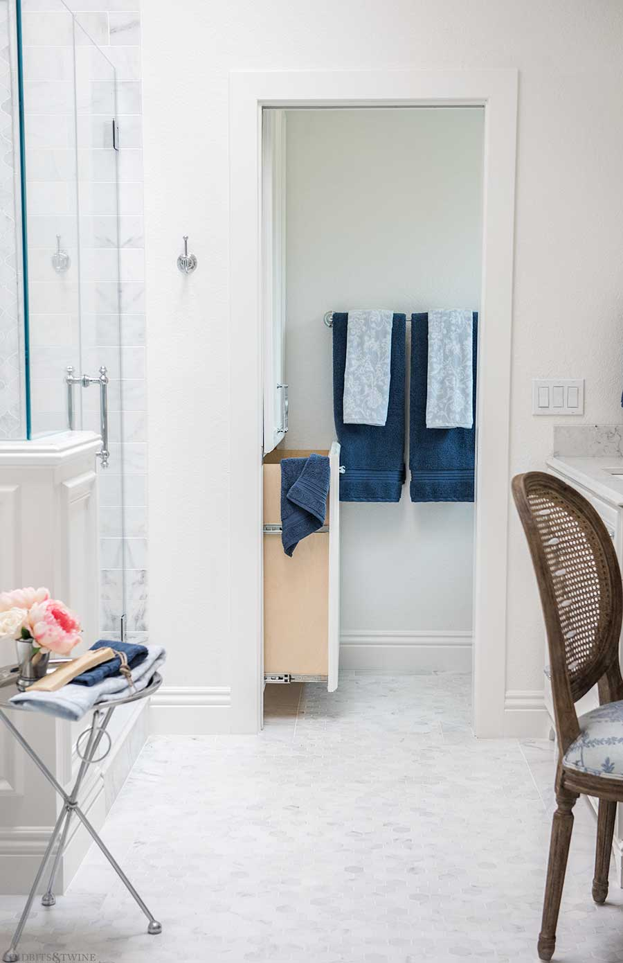Bathroom built-in with pullout hamper