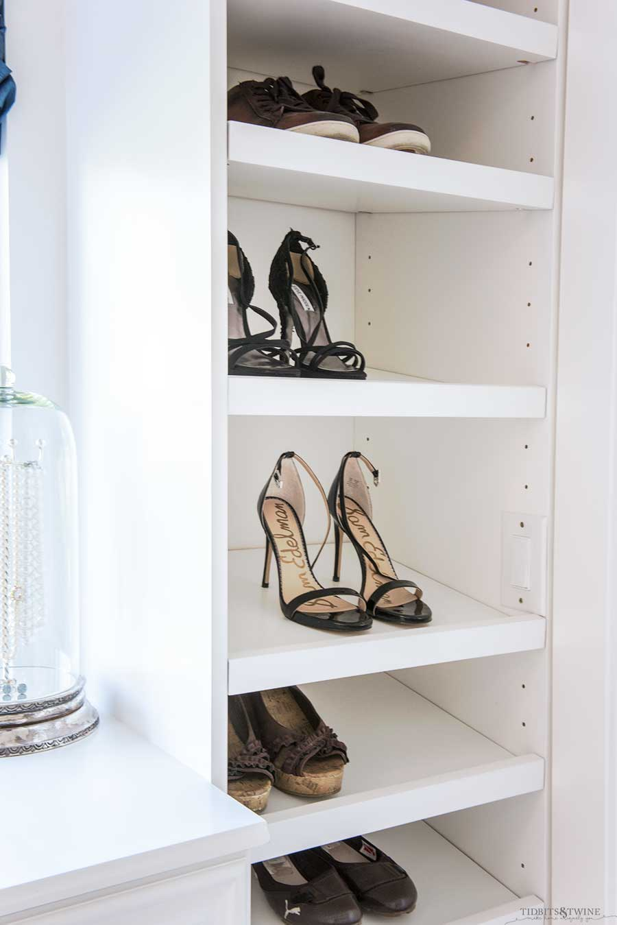 Bathroom with built-in shoe storage