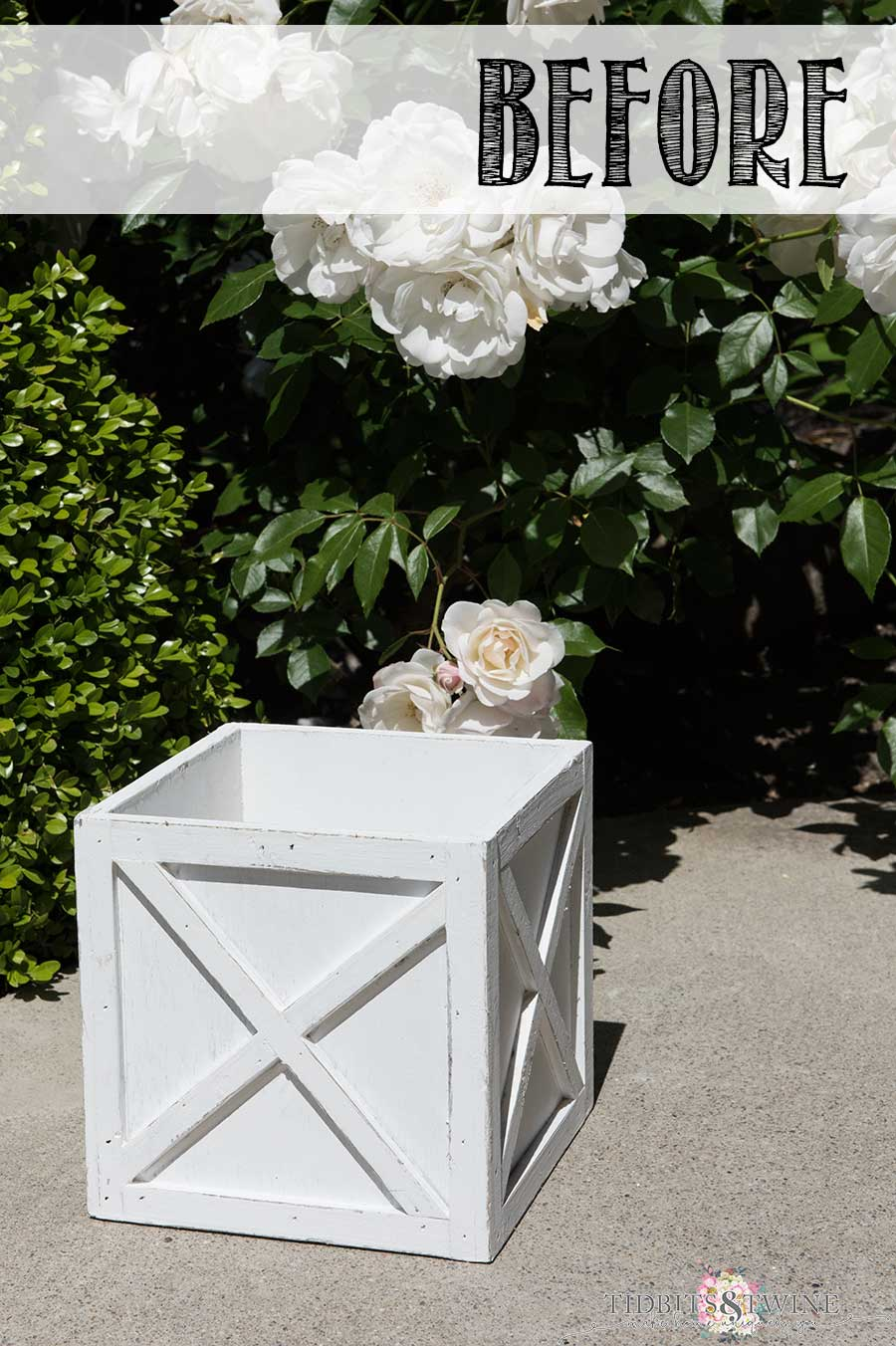 How to create a Restoration Hardware look using chalk paint: The BEFORE picture of the planter