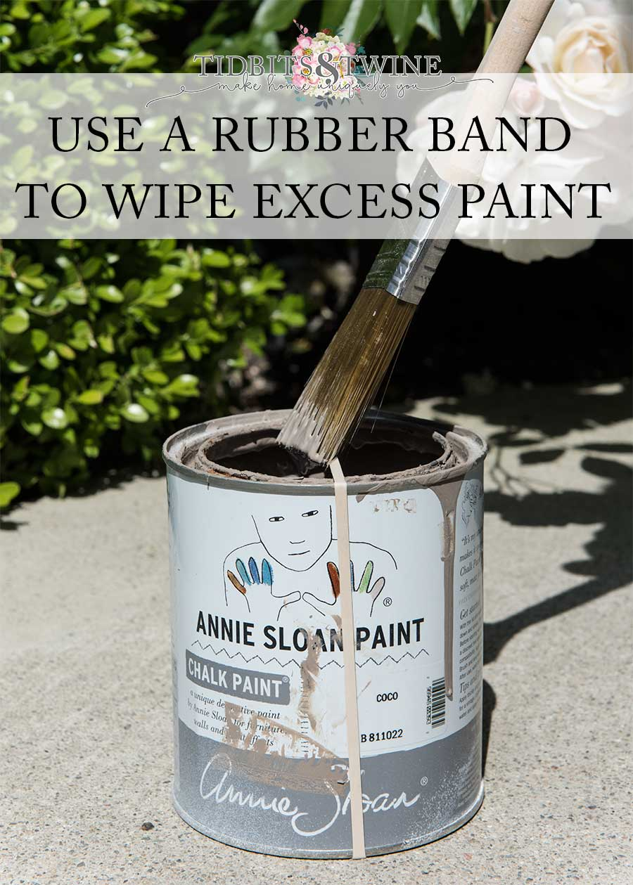 Pro tip: Use a rubber band around a paint can to wipe excess paint