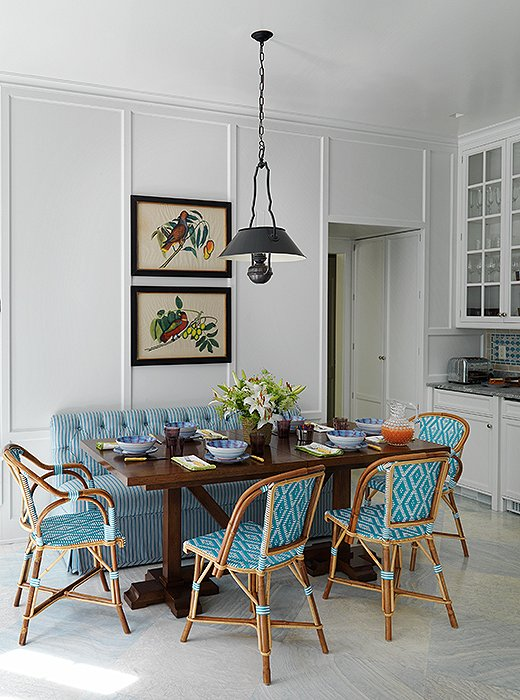 Blue french bistro chairs