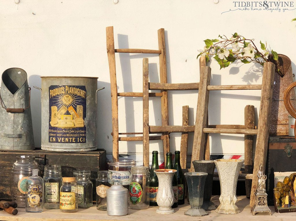 French vintage bottles and ladders
