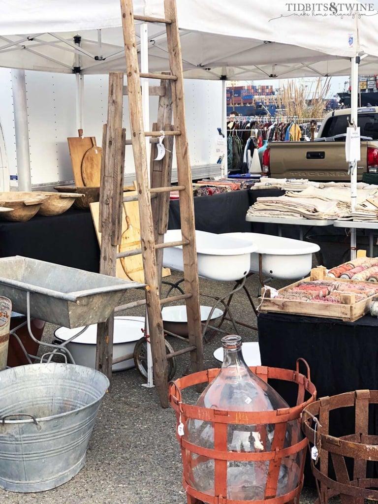 Vintage European grain sacks, bathtubs, paint rollers, dough bowls and more