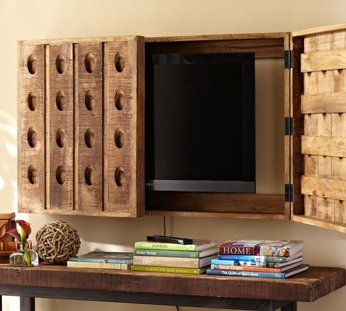 TV with riddling rack covering it