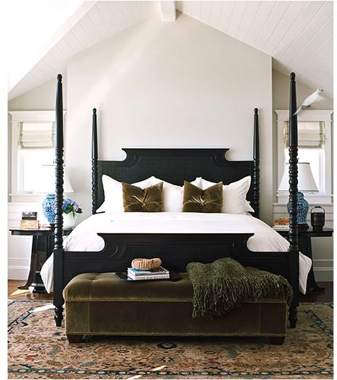 How to Decorate Above the Bed - Black four poster bed