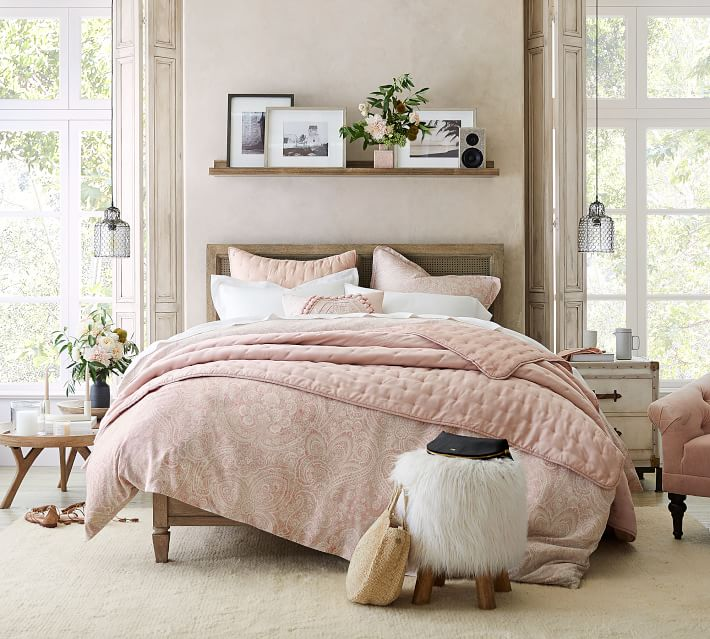 Ideas for How to Decorate Above the Bed Tidbits&Twine - Ledge Shelve with Picture Frames Pottery Barn