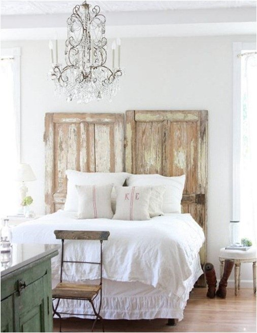 Ideas for How to Decorate Above the Bed Tidbits&Twine - Salvaged Doors as Headboard
