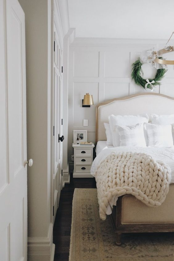 Ideas for How to Decorate Above the Bed Tidbits&Twine - Christmas Wreath on Paneled Bedroom Wall
