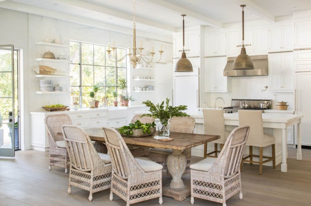 Tidbits and Twine - Brooke Giannetti white kitchen with antique pedestal table