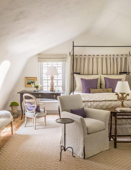 Tidbits and Twine - Brooke Giannetti bedroom with beige linen and purple accents