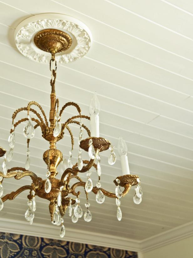 Gold and crystal ceiling chandelier with medallion