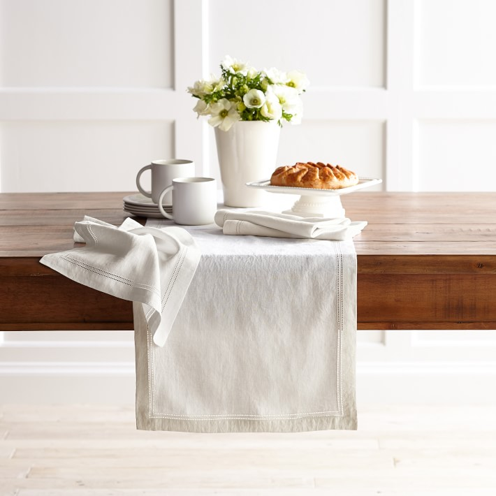 Hemstitch table runner - white from Willaims Sonoma Tidbits&Twine