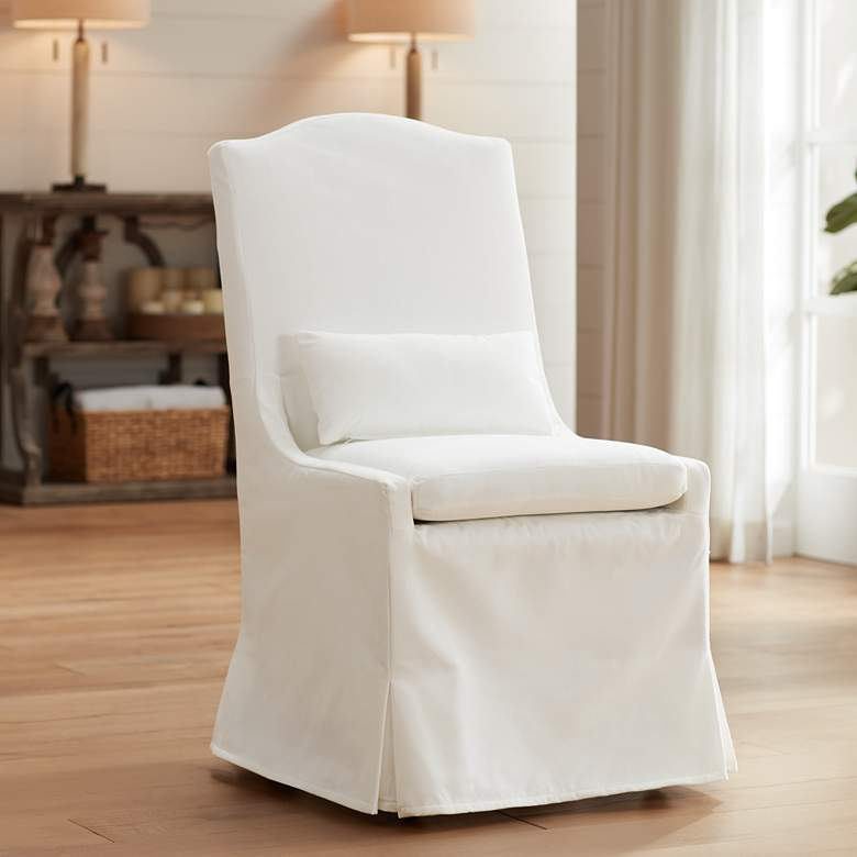White slipcovered dining chair with camelback and lumbar cushion - Target