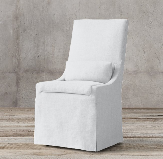 White velvet Restoration Hardware slipcovered side chair
