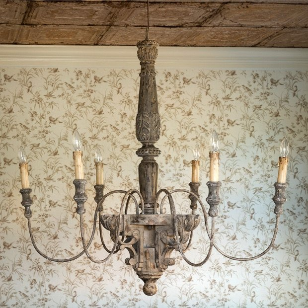 Large carved wood rustic french chandelier with six candle drip lights