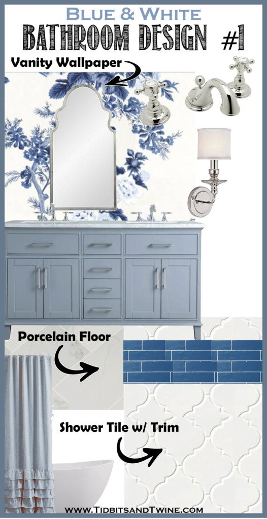 bathroom remodel idea design board with blue floral wallpaper gray blue vanity and carrara floor