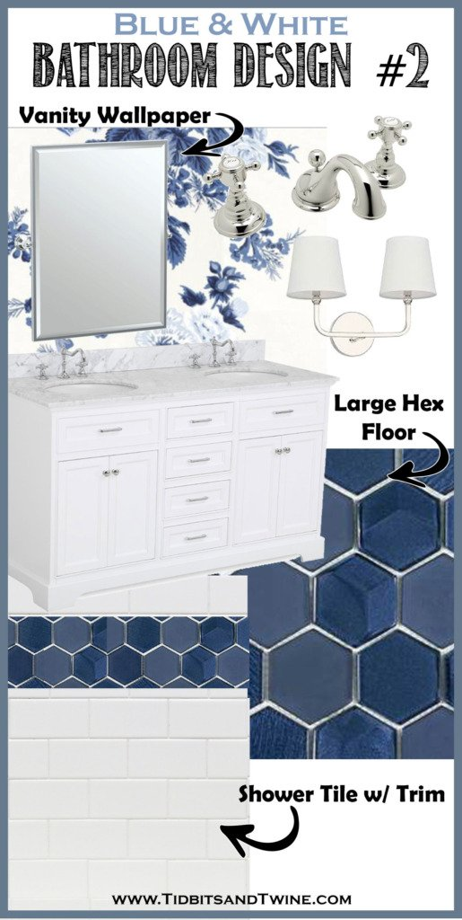 bathroom remodel idea design board with blue floral wallpaper and navy hex floor tile