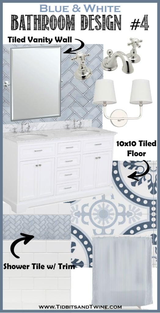 bathroom remodel idea design board with blue herringbone tile and pattern tiled floor