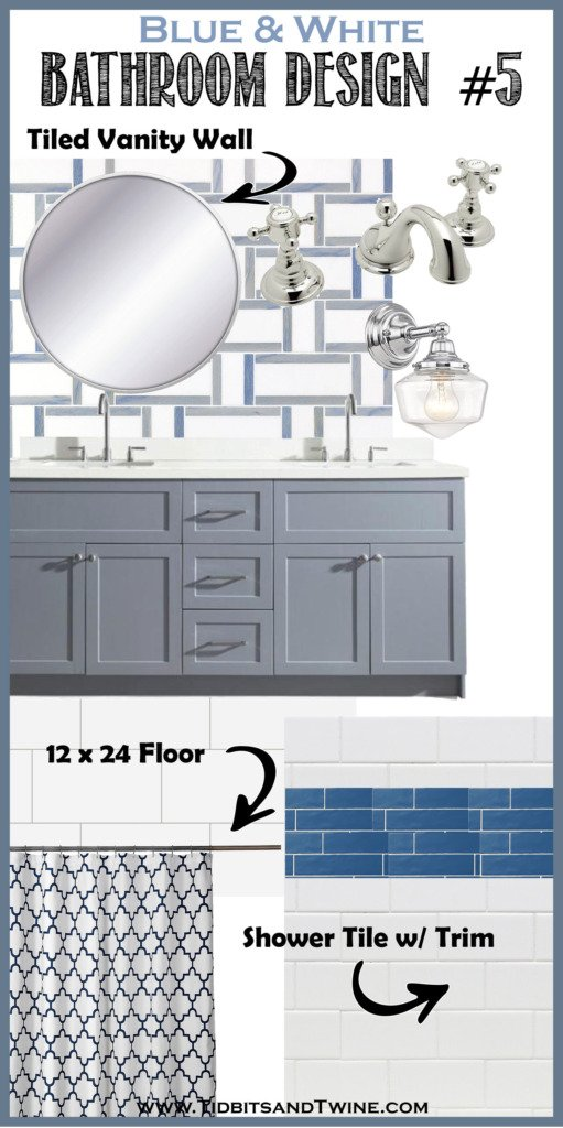 bathroom remodel idea design board with geometric tile on the wall gray vanity and white shower