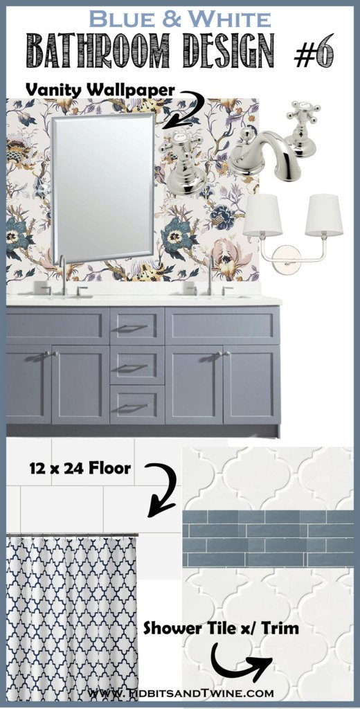 bathroom remodel idea design board with pink and blue floral wallpaper blue vanity and white shower