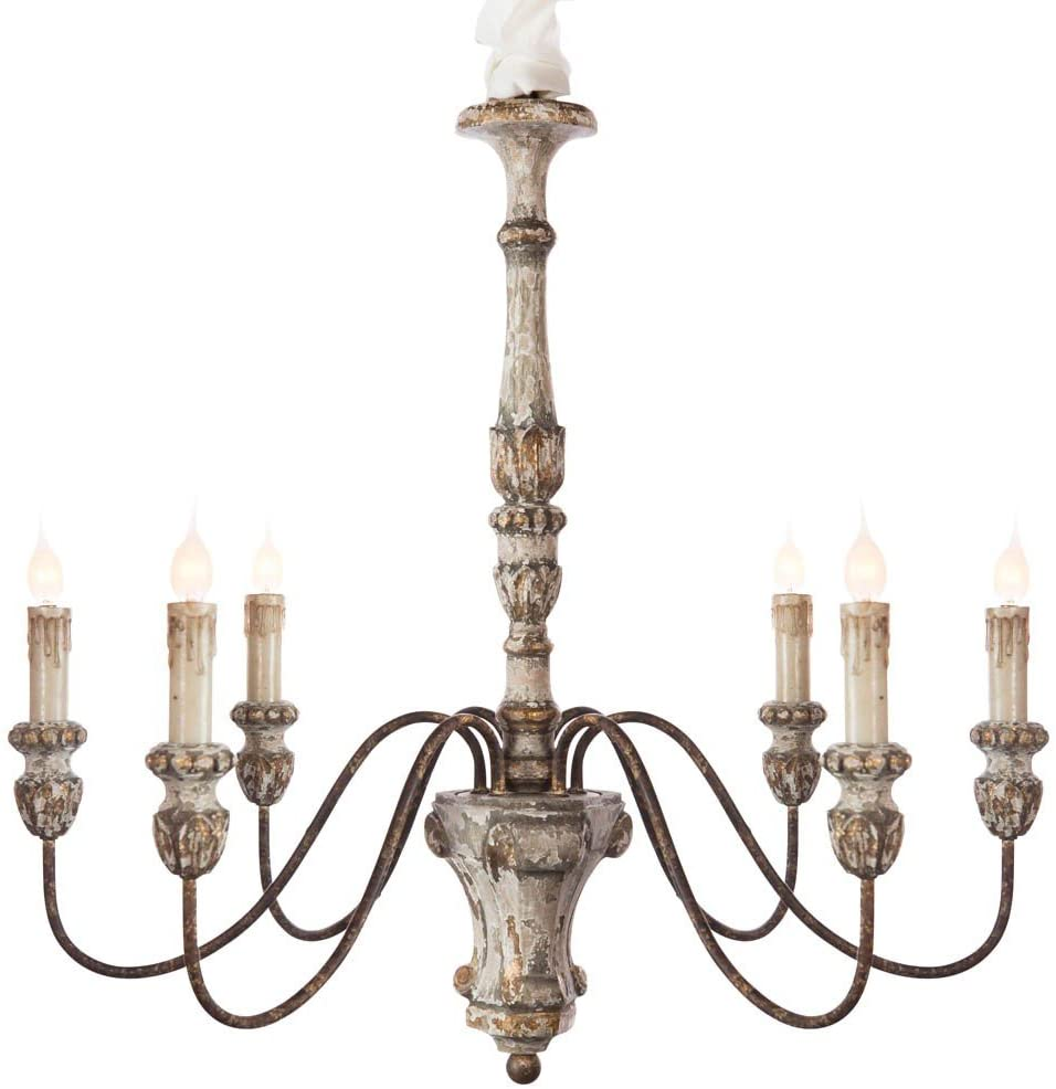 Gorgeous antique style French country chandelier with distressed white paint and rustic gold details